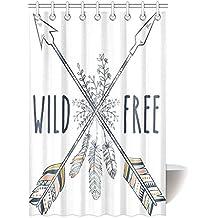interestprint cortina de ducha de plumas y diseño de flores, Vintage Boho Estilo con Tribal étnico Crossed flechas salvaje y libre juego de cuarto de baño cortina de ducha de tela con ganchos, 36x 72cm