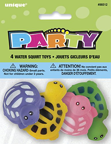 Unique Party - 86512 - Paquet de 4 Pistolet à Eau Tortue pour Pochettes - Cadeau