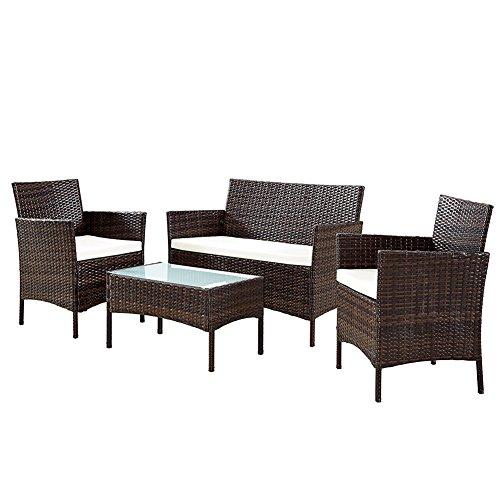Bakaji set salotto completo di divano 2 poltrone e tavolino in vetro e poly rattan struttura in acciaio con cuscini sfoderabili arredo giardino terrazzo (marrone)