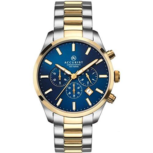 Accurist 7165 Two Tone Chronograph Bracelet Watch Quartz Analogue Wrist Men Gift