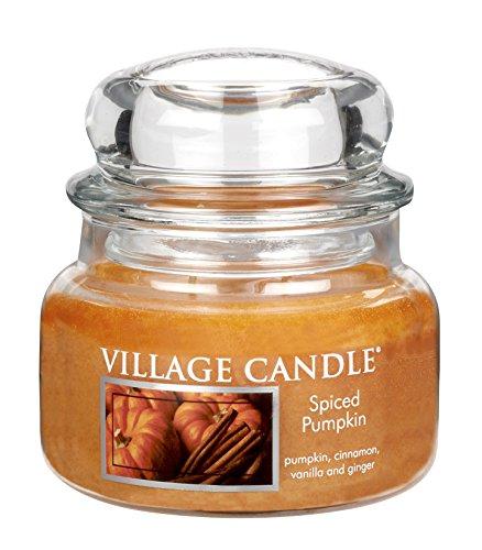 Village Candle Duftkerze im Glas, Gewürzter Kürbis, klein, 11 x 10 cm, 701 g (bis zu 55 Stunden Brenndauer) -