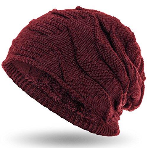 Compagno Mütze warm gefütterte Wintermütze elegantes Strickmuster mit weichem Fleece-Futter Beanie, Farbe:Dunkelrot