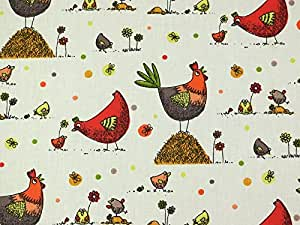 Rideau en tissu Motif poules Zazou en coton-Rouge-M