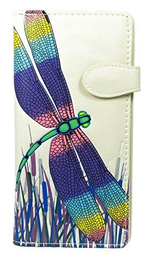 Shagwear Junge-Damen Geldbörse, Large Purse: Verschiedene Farben und Designs: (Frühling Libelle Creme/Spring Dragonfly) (Bestickte Geldbörse)