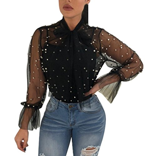 Chemise Femme,Manadlian Tuniques Été Femmes Nail Perle Transparent Mode Tops à Manches Longues Chemise Blouse Noir