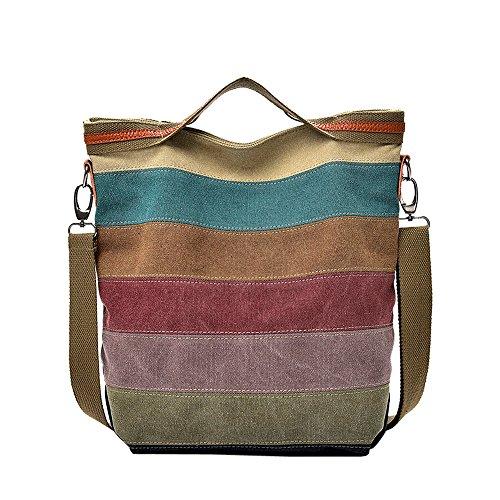 LANDFOX Canvas colorblock gestreifte Umhängetasche Umhängetasche Damen sportliche Handtasche Umhängetasche Schultertasche aus Nylon 30cm(L)*14cm(W)*31cm(H)