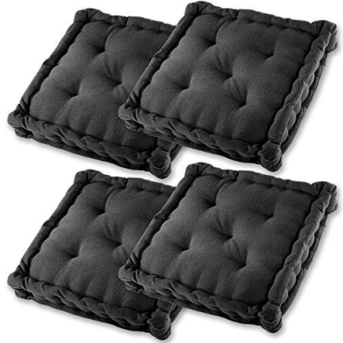 Gräfenstayn® Set de 4 Coussins d'Assise Coussins de Chaise 40x40x8cm pour intérieur et extérieur - 100% Coton - Différents Coloris - Rembourrage épais (Noir)