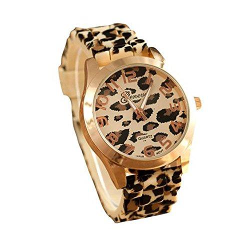 Tyler Hancock Armbanduhr, Unisex, Silikon, Leoparden-Muster, Quarz-Uhrwerk, analog