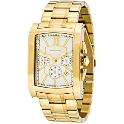 Pierre Cardin Men's Pont Des Arts Quartz White Dial Chronograph Display and Gold Stainless Steel Wristwatch PC105411F08