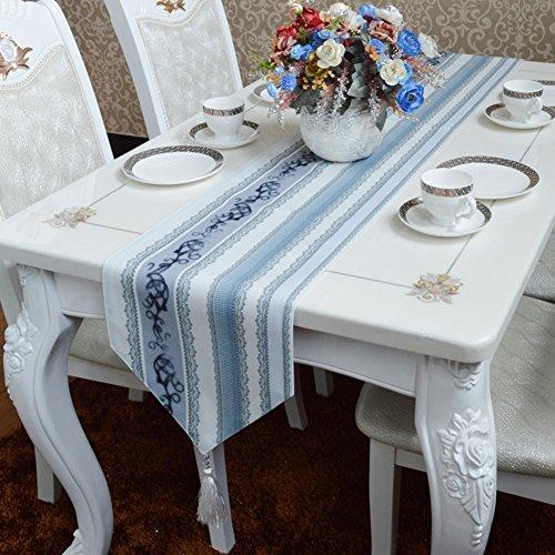 ERRU-Drapeau de table Chemin de Table Style Européen Nappe Méditerranéenne Bleu Clair Gris Rayé Tissu Chemin de Table à Café Nappes (taille : 30 * 240cm)