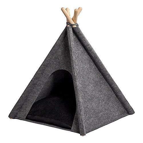 MYANIMALY TIPI Zelt für Haustiere 100x100x100(H) cm (+/- 3cm), Hundezelt, Katzenzelt, Haustierbett, Haustierhütte für Hunde und Katzen mit beidseitig anwendbarem Kissen, Gestell aus Kiefernholz