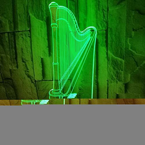 OSVD Harfe 3D Lampe bunte Note führte Sichtlampen-Geschenk-Atmosphären-Musik-Geschenk 3D kleine Tabelle geführtes Nachtlicht