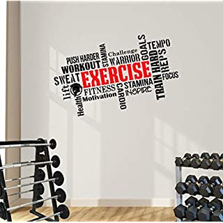 DesignDivil Exercise Word Cloud. Motivational Wall Art Decal. Perfect for Gyms, Homes and Health & Fitness Centres.