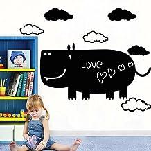 Tafelfolie Wandtattoo + 2 Kreidemarker fürs Kinderzimmer von Reemara, Selbstklebend, Motiv Elefant, Kuh, Nilpferd
