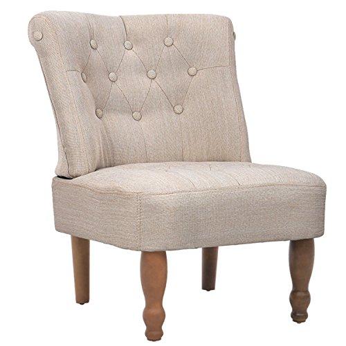 vidaXL Armsessel Stil Sessel französischer Stuhl Creme 240286, Gewebe, One Size -