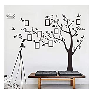 Lisdripe X-Large DIY Family Tree Wall Art Stickers Removable Vinyl Black Trees Photo Frames Wall Stickers Decals Home Decor Art Decals Sticker (Family Tree Photo Fames Branches on the Left)