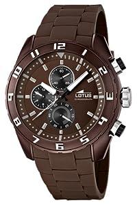 Reloj cronógrafo Lotus 15842/3 de cuarzo para hombre, correa de goma color marrón (cronómetro, agujas luminiscentes)