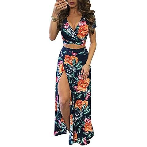 iShine Women's Sexy Two Piece Split Bandage Dress Crop Top