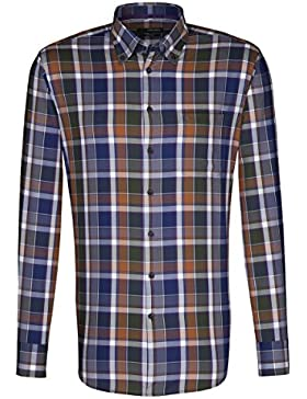 Seidensticker Herren Langarm Hemd Splendesto Regular Fit Button-Down-Kragen mehrfarbig kariert 388942.86