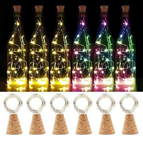 chen Lichter, SHINYMOD LED Lichterketten Batteriebetriebene Sternenlichter für Flasche DIY, Party, Romantische Dekor, Weihnachten, Hochzeit,Stimmung Lichter(3 Warmweiß +3 Farbig) ()
