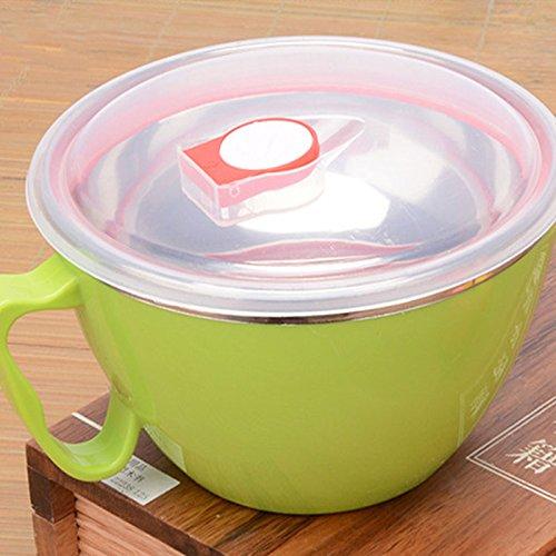 Ssxy ciotola per zuppa istantanea ciotola per zuppa ramen in acciaio inox con coperchio tazza - coperchio piatto; colore, verde