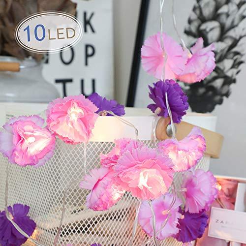 LED Blume Lichterkette, Morbuy Blumen Entwurf 10 /20LED Warmweiß Deko Lampe Batterie Licht für Kinderzimmer Terrasse Garten Weihnachten Halloween (Lila, 1.5M/10LED)