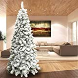 BAKAJI Albero di Natale INNEVATO Slim 180 cm Ecologico, Base a Croce in Ferro, 498 Rami, Aghi Anti Caduta, Foltissimo