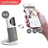 Laygudras wireless wifi camera clever dog Smart baby monitor support P2P Night Vision Record Video Two-way Audio Motion Detected for IOS/Android tablet/smartphone (Grey)
