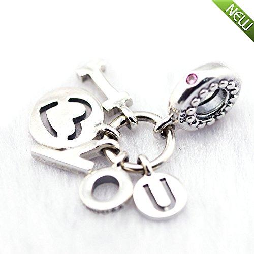 PANDOCCI 2018 Valentinstag Geschenk Ich liebe dich Herz Charme klar CZ Bead 925 Silber DIY passt für Original Pandora Armbänder Charm Modeschmuck