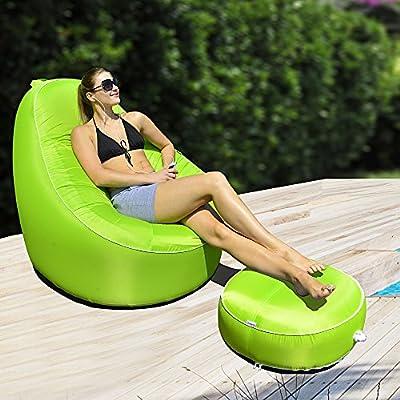 Avenli Pouf II Sitzkissen Ø 55 x 26 cm Outdoor & Indoor Hocker Gartenhocker Sitzkissen Sitzsack robust aufblasbar gewebeverstärkter Bezug wasserfest wetter- UV- und schimmelbeständig von Jilong auf Gartenmöbel von Du und Dein Garten