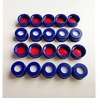 100 tapones y tapones de rosca de silicona color azul septa para labios de 2 ml 9 – 425