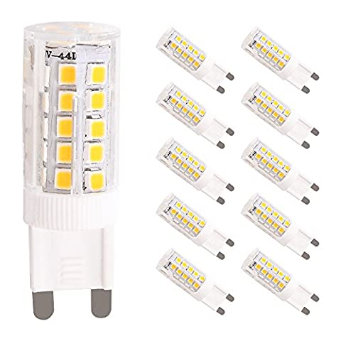 WULUN LED Lampe Birne G9 Energiesparlampe, 5 Watt ersetzt diese LED 50W Halogen-Lampe, 450 Lumen, AC 220-240V, 3000K, Bi-Pin Lampe, warmweiß, 10 Stück in jeder Packung, SMD 2835 Leds, 360º Abstrahlwinkel