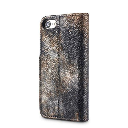 iPhone 8 Case, Fraelc Ultraslim Schutzhülle Retro Permium Leder Flip Wallet Bookstyle Handyhülle mit Magnetverschluss, Stand Funktion und Kreditkarte Slots für Apple iPhone 7 / iPhone 8 in Marmor Must Schwarz
