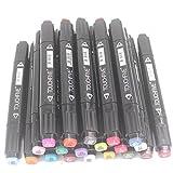 TOUCHFIVE Markers Peinture Feutre Indélébile Stylo Lot de 20 marqueurs de dessin à double pointes 1mm / 6mm (Noir)