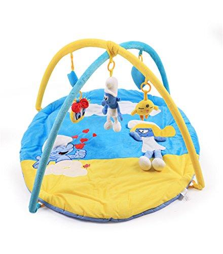 Colorfulworld Baby Spielmatte Erlebnisdecke mit Superweiche Gewebe Babybett mit Spielzeug Spielmatte für Baby (The Smurfs) Smurf Spiele