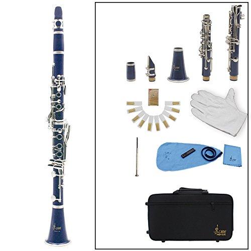 B-Klarinette, Sopran-Holzblasinstrument, 17Tasten, flach, inklusive Korkfett, Reinigungstuch und Handschuhe, 10Blättchen, Schraubendreher dunkelblau