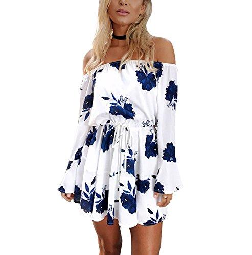 Yieune Sommerkleider Lange Ärmel Schulterkleid Blumenmuster Kurzes Strandkleid(Weiß-Blau XL)