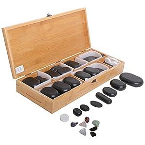 64 Hot Stone Steine Aus Basalt In Dekorativer Bambuskiste Fr Die Perfekte Massage Therapiesteine Fr Die Optimale Wrmebehandlung Natursteine In Verschiedenen Gren