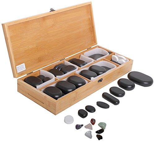 64 Hot Stone Steine aus Basalt in dekorativer Bambuskiste für die perfekte Massage - Therapiesteine für die optimale  Wärmebehandlung  - Natursteine in verschiedenen Größen