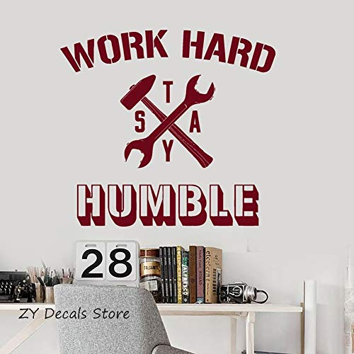 fenshop Office Inspirational Words Quotes Aufkleber Work Hard Stay Humble Modern Home oder Office Decor Wandaufkleber Wohnzimmer Schlafzimmer 46x42cm - Wand-aufkleber Inspirational Quotes