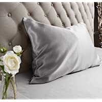 Jasmine Silk 100% Charmeuse Silk Pillowcase (Grey) 50 cm x 75 cm - RRP £35