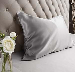 Jasmine Silk 100% Charmeuse Silk Pillowcase (Grey) 50 cm x 75 cm - RRP £35