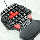 ZeleSouris Mini Gaming Keypad Gaming Keyboard Gameboard FPS Gamer Game Board Gamepad with LED Backlights and Red Cap AWSD Keys Special for One Hand CS / WOW / BF3,Crysisetc/ Diamond-shaped, Ergonomic Design