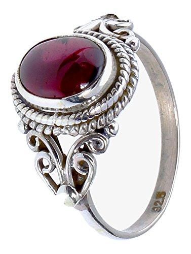Chic-Net Silberringe Rubin Seile Spiralbögen Kreise oval 925er Sterling Silber Ringe Schmuck 60 (19.1)