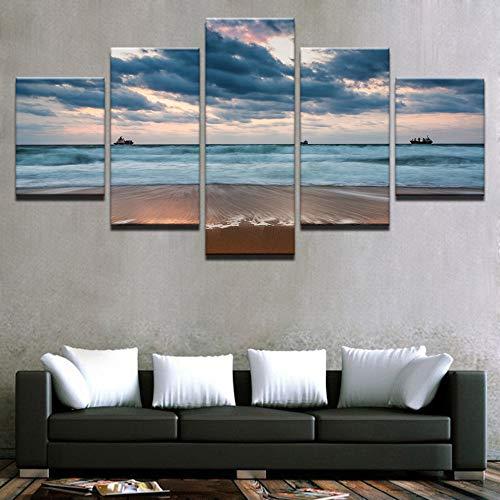 adgkitb canvas Wand Drucke Bild Ozean Landschaft Fünf Stücke Landschaft Kombination Decor Strand Meerblick Home Bed Hintergrund -