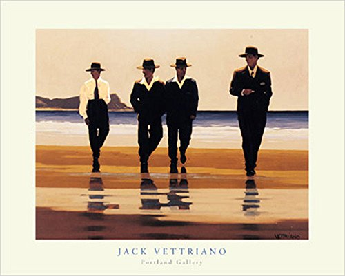 Vettriano, Jack - The Billy Boys - Kunstdruck Artprint Gemälde Männer am Strand - Grösse 50x40 cm + 1 Packung tesa Powerstrips® - Inhalt 20 Stück