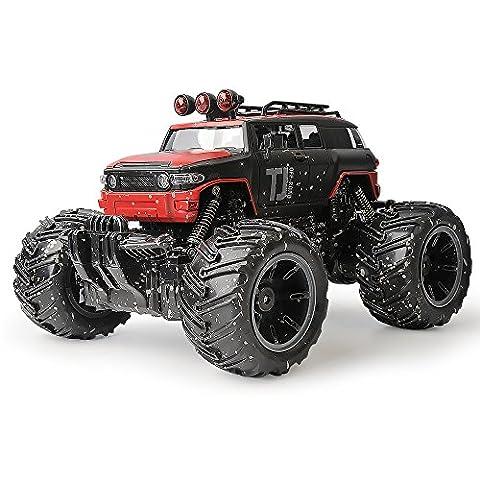 Gizmovine Schlamm Monster Pickup Fernbedienung RC Truck 1:16 Waage wiederaufladbar mit Schlamm Splatter Paint Job Rot Farbe