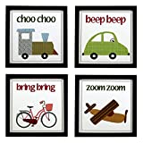 #7: INDIANARA 4 PIECE SET OF VEHICLES KIDS ROOM DÉCOR FRAMED WALL HANGING ART PRINTS 8.7 INCH X 8.7 INCH WITHOUT GLASS