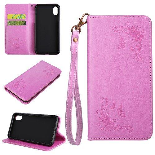 jbTec® Flip Case Handy-Hülle zu Apple iPhone X - BOOK MUSTER Schmetterlinge S27 - Handy-Tasche, Schutz-Hülle, Cover, Handyhülle, Ständer, Bookstyle, Booklet, Farbe:Grau Pink