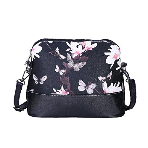 Aelegant Damen Elegant Umhängetasche PU Leder Schultertasche Handtasche mit Schmetterling Blumenmuster Aufdruck Messanger